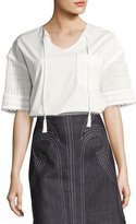 Derek Lam 10 Crosby Short-Sleeve Poplin & Crochet Top, White