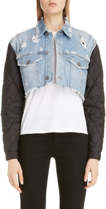 Givenchy Quilted Sleeve Destroyed Denim Jacket