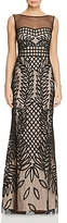 JS Collections Embroidered Mesh Gown