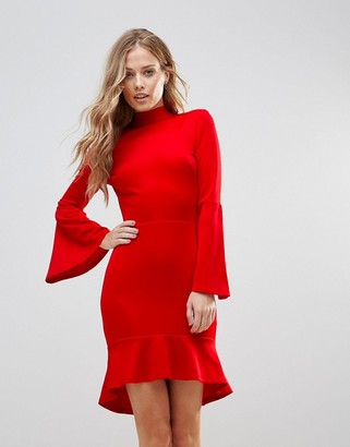 Oh My Love Pephem Midi Dress With Flare Sleeve