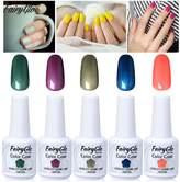 FairyGlo Gel Polish Lacquer 5pcs UV LED Nail Polish Soak Off Shiny Goregous Varnish Manicure Pedicure Collection Nail Art DIY Pro Gift Set Well- Selected New 15ml 0.5fl.oz