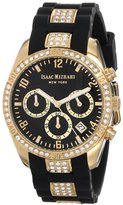 Isaac Mizrahi Women's IMN15GB Gold Tone Crystal Case Crystal Accented Black Silicone Strap Watch