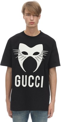 Gucci Mask Printed Heavy Cotton T-Shirt