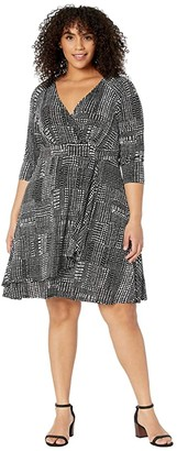 Karen Kane Plus Plus Size Faux Wrap Drape Dress (Print) Women's Clothing
