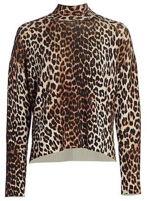 Ganni Leopard Print Wool Sweater