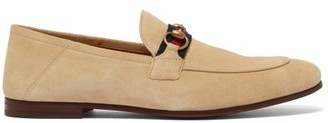Gucci Brixton Horsebit Suede Loafers - Cream