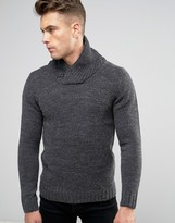 Blend of America Slim Shawl Knit Sweater Charcoal