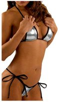 Bestgift Women's Faux Leather Halterneck Tie Side Bikini Sets