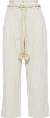 Mes Demoiselles Olympic Belted Button-detailed Striped Cotton Wide-leg Pants