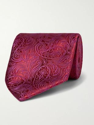 Charvet 8.5cm Paisley-Embroidered Silk Tie - Men - Burgundy