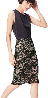 Find. Women's Skirt in Pencil Shape with Lace Overlay