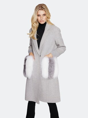Dawn Levy Natalie Double Faced Wool Coat with Fur Trim
