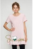B-Sharp Collection Supima Cotton Top Casual Short Sleeve Pink Tunic Ruffle Bottom.