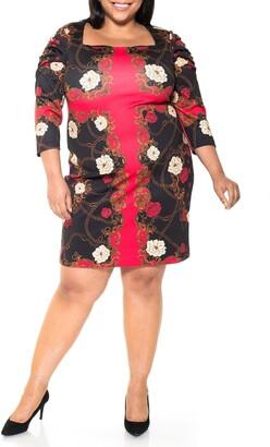 Alexia Admor Elizabeth Square Neck Puff Sleeve Sheath Dress