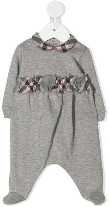 Il Gufo Plaid-Print Ruffled-Trim Pajama