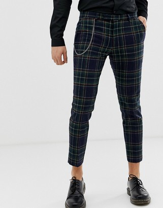 Twisted Tailor tapered pants in plaid with chain-Navy