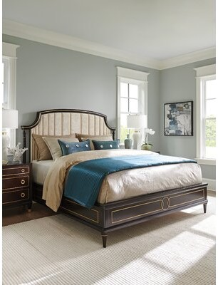 Lexington Carlyle Solid Wood and Upholstered Low Profile Standard Bed Size: Queen