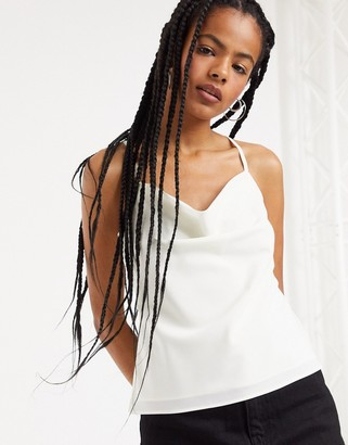 Topshop cowl neck cami top in ivory