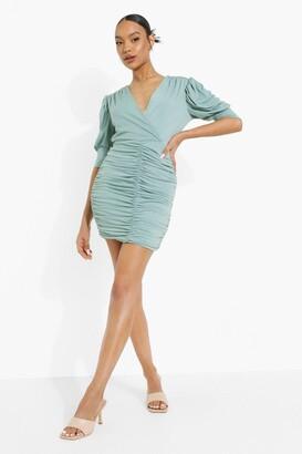 boohoo Wrap Ruched Detail Mini Dress