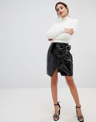 NA-KD Na Kd Buckle Detail Patent Skirt-Black