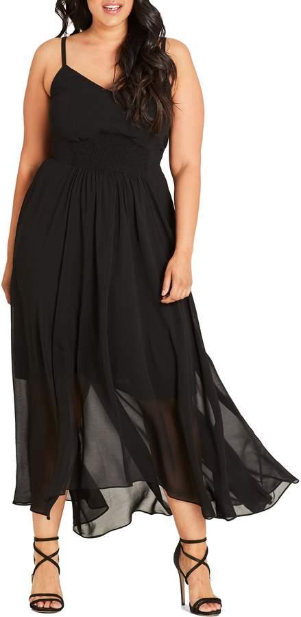 City Chic Smocked Waist Maxi Dress