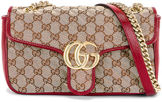 Gucci Shoulder Bag in Beige Ebony & New Cherry Red | FWRD