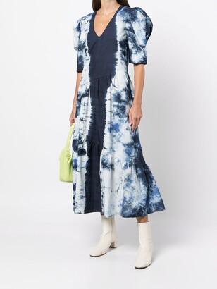 Sea Tie-Dye Print Puff-Sleeve Dress