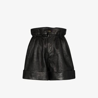 Miu Miu Paper Bag Waist Leather Shorts