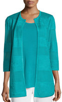Misook Textured Lines Long Jacket, Turquoise, Plus Size