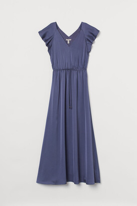 H&M Long Butterfly-sleeved Dress - Blue