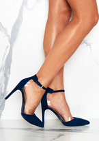 Missy Empire Jessa Navy Strap Clear Detail Court Heels