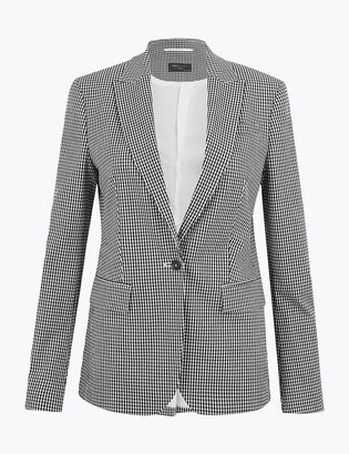 Marks and Spencer Gingham Single Breasted Blazer