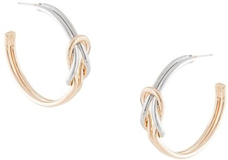 Kenneth Jay Lane knotted two-tone hoop earrings