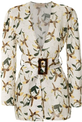 Adriana Degreas Floral Print Belted Playsuit