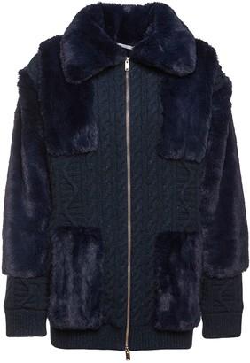 Stella McCartney Faux Fur & Wool Knit Zip-Up Sweater