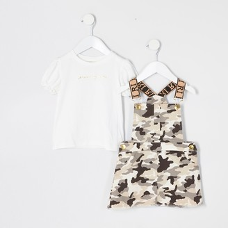River Island Mini girls Brown cami pinafore dress outfit