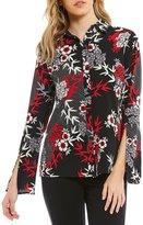 Jones New York Floral Print Split Cuff Bell Sleeve Blouse
