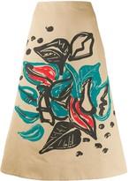 Marni Jungle Liz print a-lined skirt