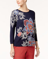 Alfred Dunner Patterned Scoop-Neck Sweater