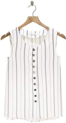 Sophie And Lucie SOPHIE AND LUCIE - White Sleeveless Striped Top - 36 - Grey/White