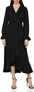 BCBGMAXAZRIA Ruffled Silk Faux-Wrap Dress