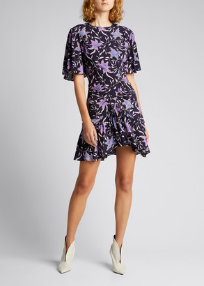 Etoile Isabel Marant Osias Ruched Floral-Print Short Dress