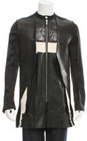 Rick Owens Leather-Trimmed Fractured Coat w/ Tags