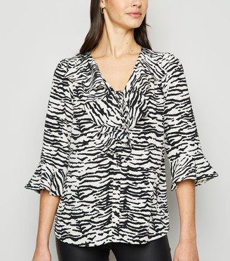 New Look Zebra Tie Front Frill Blouse