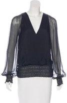 Halston Silk Long Sleeve Blouse
