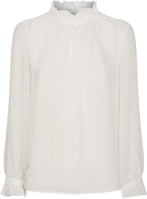 Claudie Pierlot Ruffle Trim Polka-Dot Blouse