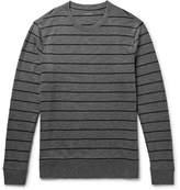 Club Monaco Striped Mélange Cotton-jersey Sweatshirt - Dark gray