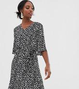 Y.A.S Tall tie waist mini dress in polka dot