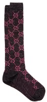 Gucci GG-intarsia Cotton-blend Lame Knee-high Socks - Womens - Black Pink