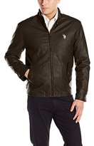 U.S. Polo Assn. Men's Barracuda Faux-Leather Jacket with Small Pony Logo
